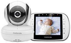 """Vigilabebés MBP36S de Motorola con pantalla LCD 3,5"""" a color y cámara de visión nocturna, en blanco"""