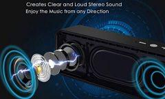 Altavoz Bluetooth Portátil KOOHO-S7-Noir de KOOHO impermeable y con una autonomía de 10 horas, en negro
