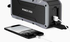 Altavoz Bluetooth Portátil BS-2082GY-ES de POWERADD impermeable y con una autonomía de 5 horas, en gris y negro