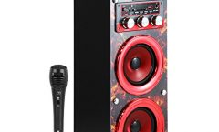 Altavoz Bluetooth Portátil 104109177-2-AM1 de Music Life karaoke con micrófono 3 W y con una autonomía de 5 horas, en rojo