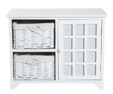 28e6533fb Armario de almacenamiento para la entrada del baño o habitación. Este mueble  organizador de madera tiene dos cestas y una puerta. Es de color blanco.